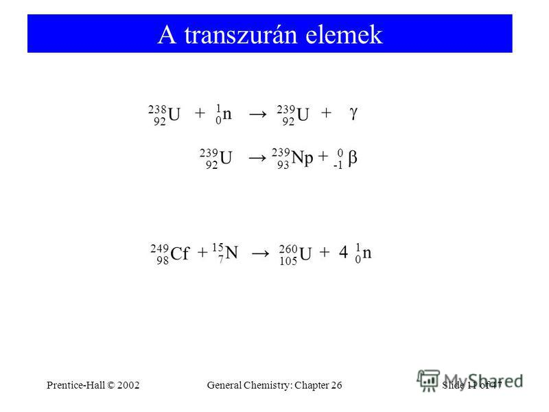 Prentice-Hall © 2002General Chemistry: Chapter 26Slide 11 of 47 A transzurán elemek + + + 0 238 92 U 1 0 n 239 92 U 239 Np 93 239 92 U + + 249 98 Cf 15 7 N 260 105 U 4 1 0 n