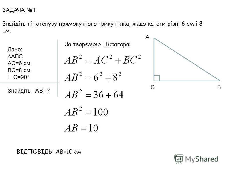 ЗАДАЧА 1 Знайдіть гіпотенузу прямокутного трикутника, якщо катети рівні 6 см і 8 см. Дано: ABC AC=6 см BC=8 см C=90 0 Знайдіть AB -? C А В За теоремою Піфагора: ВІДПОВІДЬ: АВ=10 см