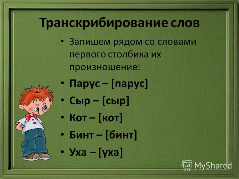 Транскрибирование слов Запишем рядом со словами первого столбика их произношение: Парус – [парус] Сыр – [сыр] Кот – [кот] Бинт – [бинт] Уха – [уха]