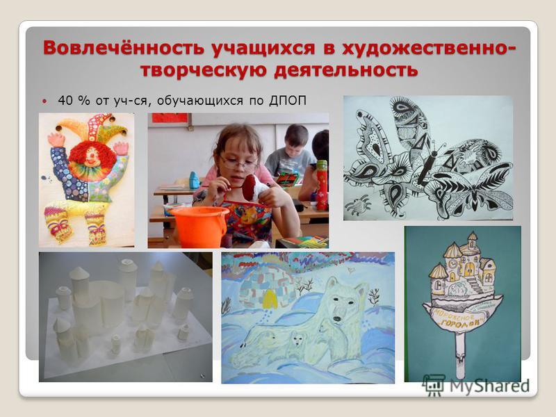 Вовлечённость учащихся в художественно- творческую деятельность 40 % от уч-ся, обучающихся по ДПОП