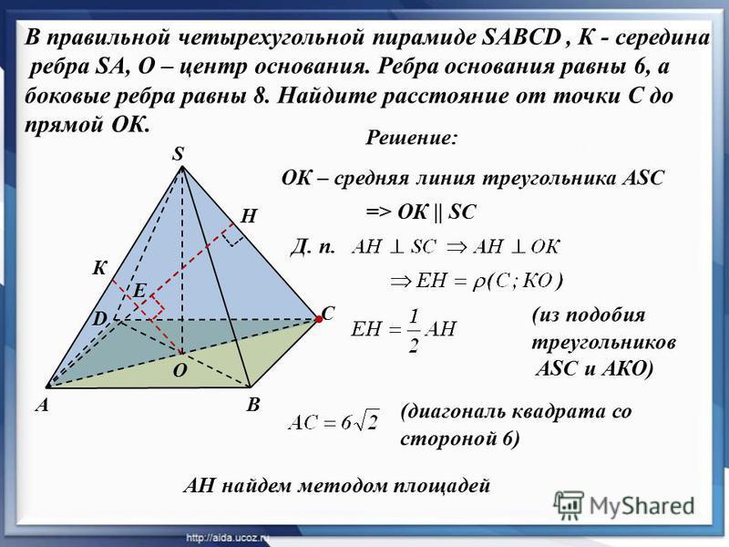 Решение: А D В С S О К ОК – средняя линия треугольника ASC => ОК    SC Д. п. Н Е (из подобия треугольников ASC и АКО) АН найдем методом площадей (диагональ квадрата со стороной 6) В правильной четырехугольной пирамиде SABCD, К - середина ребра SA, О