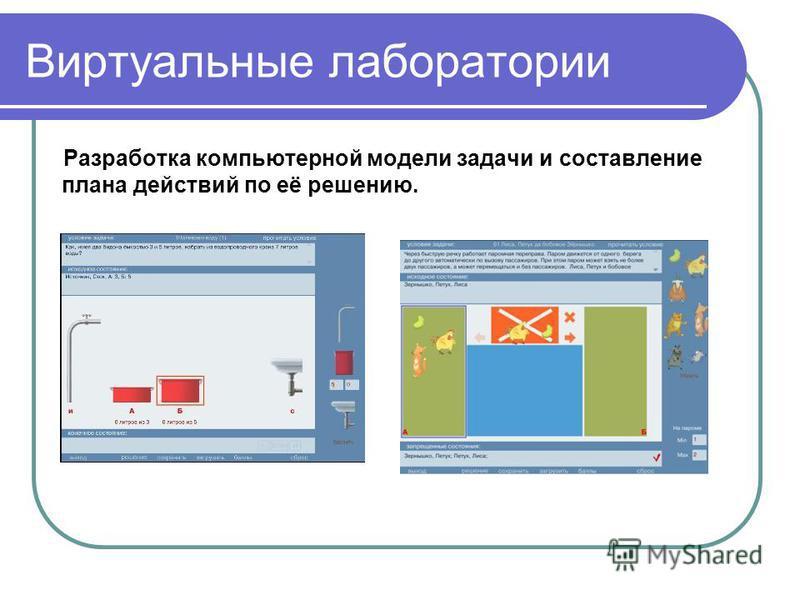 Виртуальные лаборатории Разработка компьютерной модели задачи и составление плана действий по её решению.