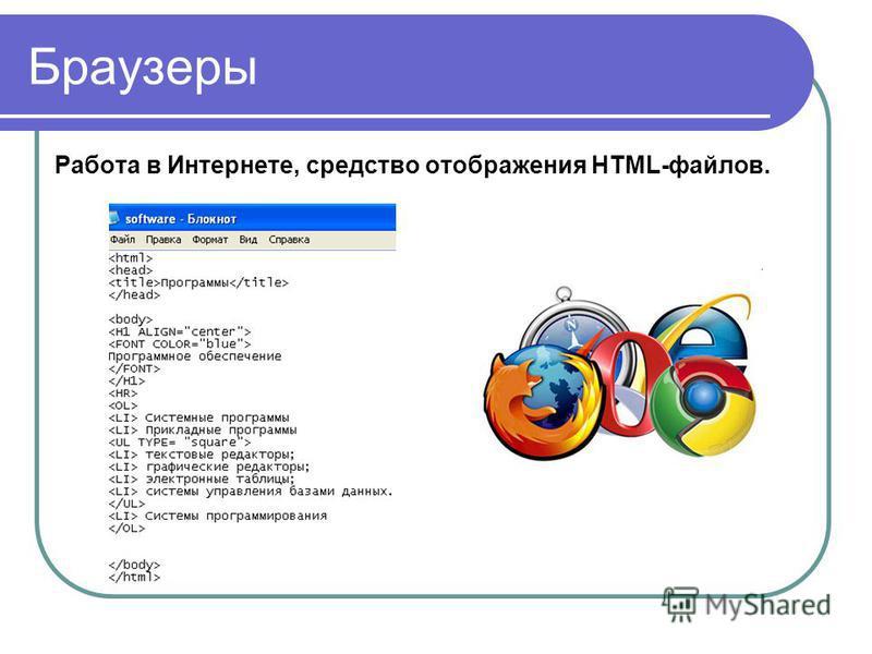 Браузеры Работа в Интернете, средство отображения HTML-файлов.