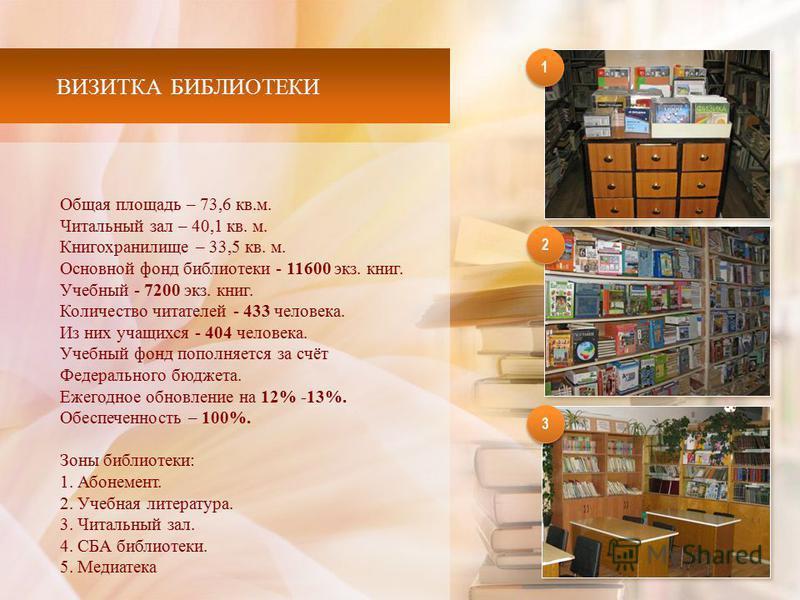 ВИЗИТКА БИБЛИОТЕКИ Общая площадь – 73,6 кв.м. Читальный зал – 40,1 кв. м. Книгохранилище – 33,5 кв. м. Основной фонд библиотеки - 11600 экз. книг. Учебный - 7200 экз. книг. Количество читателей - 433 человека. Из них учащихся - 404 человека. Учебный