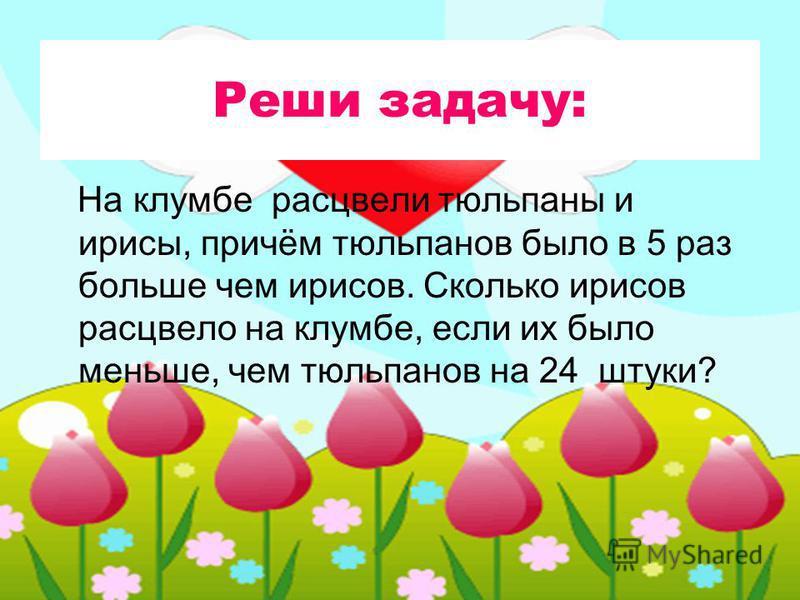 Реши задачу: На клумбе расцвели тюльпаны и ирисы, причём тюльпанов было в 5 раз больше чем ирисов. Сколько ирисов расцвело на клумбе, если их было меньше, чем тюльпанов на 24 штуки?