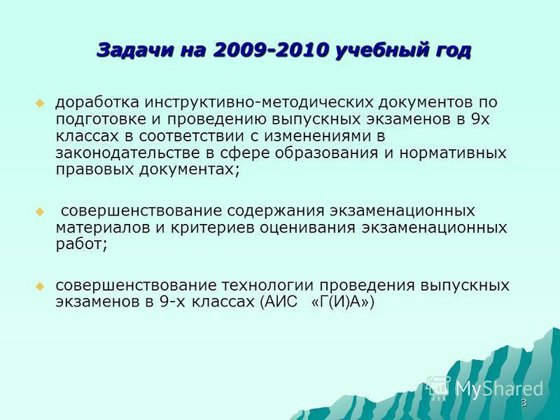 3 Задачи на 2009-2010 учебный год Задачи на 2009-2010 учебный год доработка инструктивно-методических документов по подготовке и проведению выпускных экзаменов в 9 х классах в соответствии с изменениями в законодательстве в сфере образования и нормат