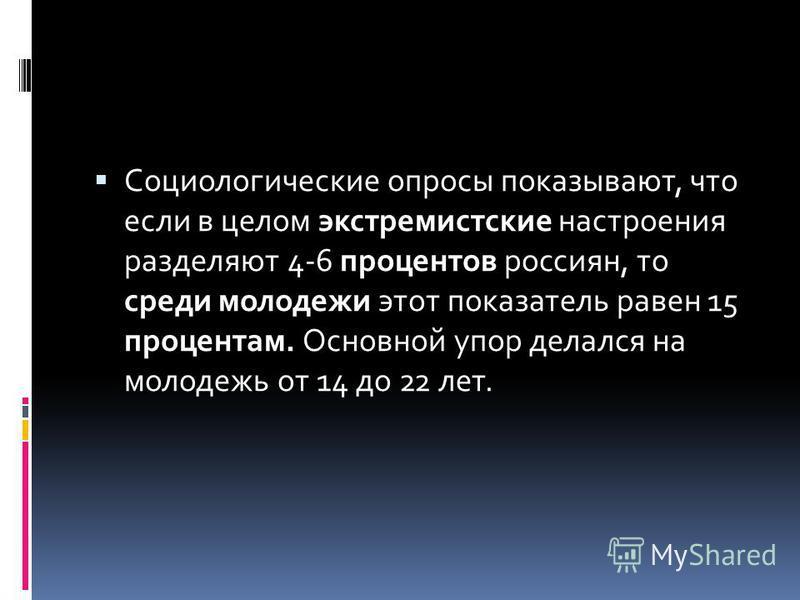 Социологические опросы показывают, что если в целом экстремистские настроения разделяют 4-6 процентов россиян, то среди молодежи этот показатель равен 15 процентам. Основной упор делался на молодежь от 14 до 22 лет.