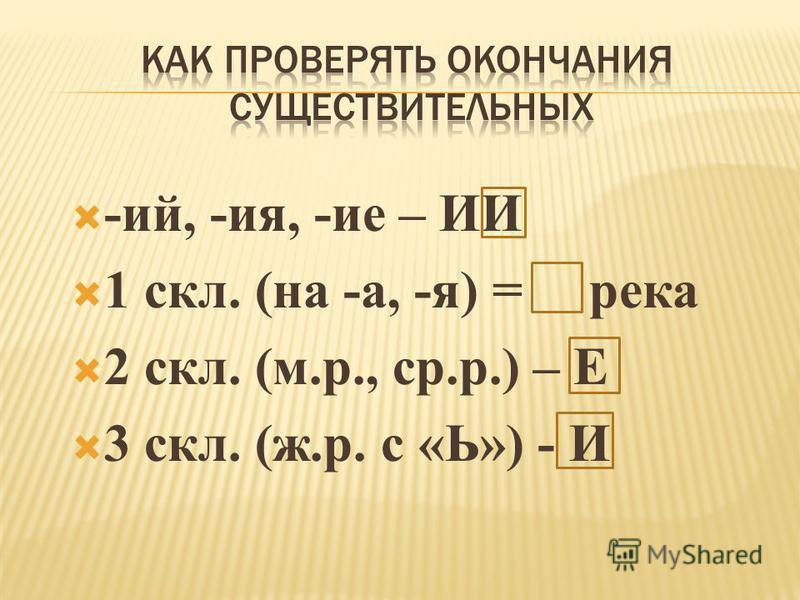 -ий, -ия, -ие – ИИ 1 скл. (на -а, -я) = река 2 скл. (м.р., ср.р.) – Е 3 скл. (ж.р. с «Ь») - И