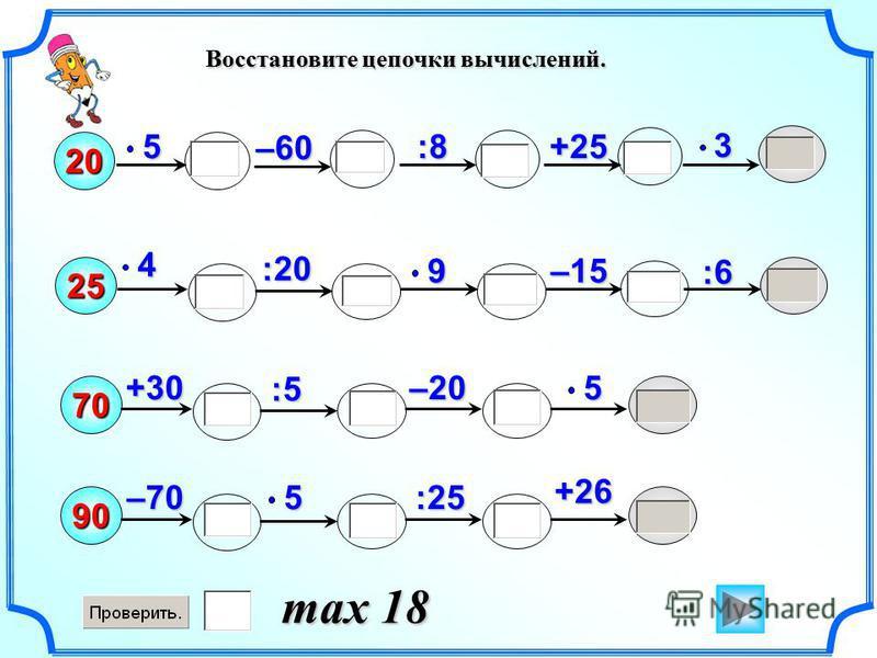 204:53+25 25 :20 70 :25 90 :8 +265+30–20 –60 :6 –159 5–705 Восстановите цепочки вычислений. max 18