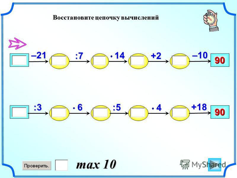 Восстановите цепочку вычислений –10 90 +2:7 14–21 +18 90 :54 6:3 max 10