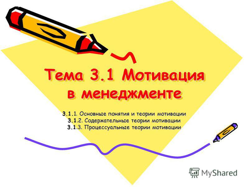 Тема 3.1 Мотивация в менеджменте 3.1.1. Основные понятия и теории мотивации 3.1.2. Содержательные теории мотивации 3.1.3. Процессуальные теории мотивации