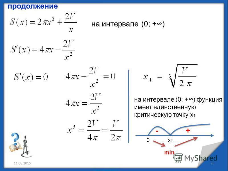 11.08.201523 продолжение на интервале (0; +) на интервале (0; +) функция имеет единственную критическую точку х 1 х 1 х 1 0 -+ min