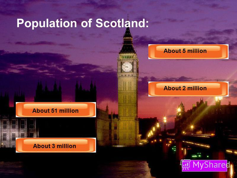 Population of England: About 51 million About 3 million About 5 million About 2 million About 51 million About 3 million About 5 million About 2 million
