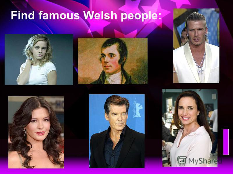 Find famous Irish people: Emma Watson, a young English actress Robert Burn, a famous Scottish poet David Beckham, a popular English football star Andie McDowell, a famous Scottish actress Pierce Brosnan, a famous Irish actor Catherine Zeta Jones, a f