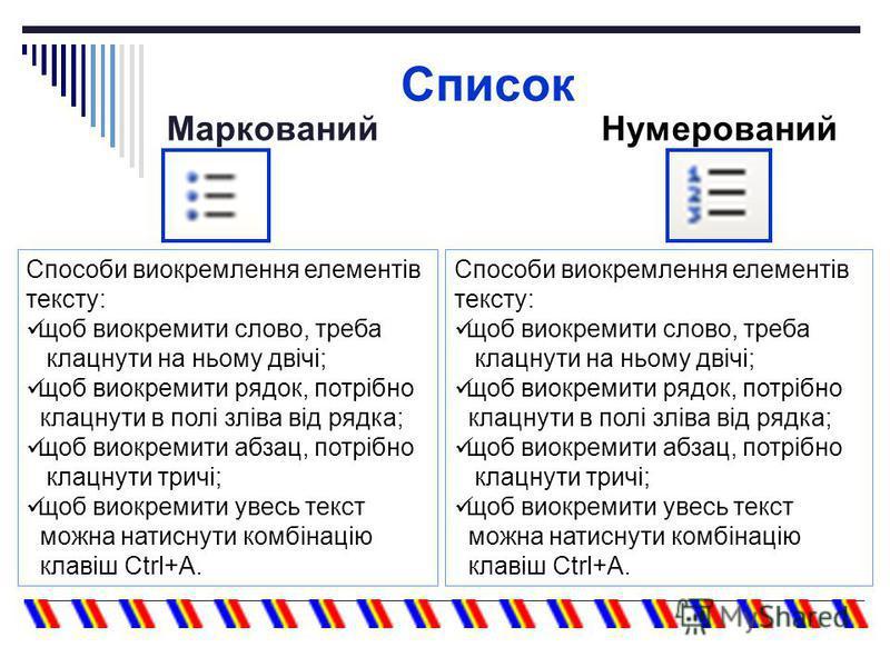 Список МаркованийНумерований Способи виокремлення елементів тексту: щоб виокремити слово, треба клацнути на ньому двічі; щоб виокремити рядок, потрібно клацнути в полі зліва від рядка; щоб виокремити абзац, потрібно клацнути тричі; щоб виокремити уве