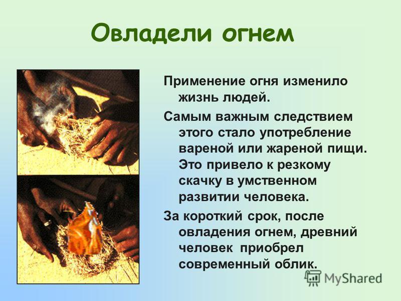 Применение огня изменило жизнь людей. Самым важным следствием этого стало употребление вареной или жареной пищи. Это привело к резкому скачку в умственном развитии человека. За короткий срок, после овладения огнем, древний человек приобрел современны