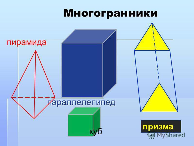 Многогранникипараллелепипед пирамида куб призма