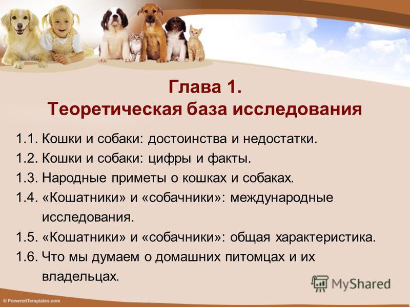 1.1. Кошки и собаки: достоинства и недостатки. 1.2. Кошки и собаки: цифры и факты. 1.3. Народные приметы о кошках и собаках. 1.4. «Кошатники» и «собачники»: международные исследования. 1.5. «Кошатники» и «собачники»: общая характеристика. 1.6. Что мы