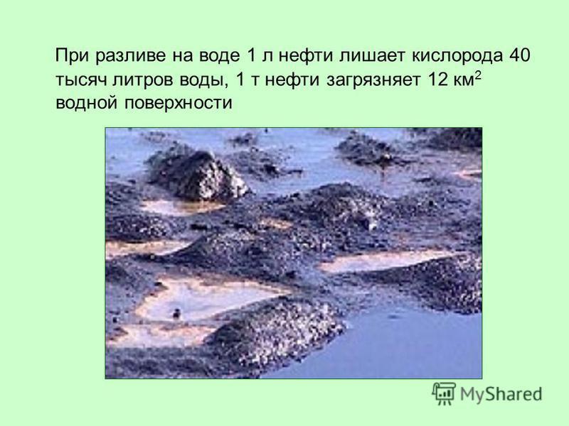 При разливе на воде 1 л нефти лишает кислорода 40 тысяч литров воды, 1 т нефти загрязняет 12 км 2 водной поверхности