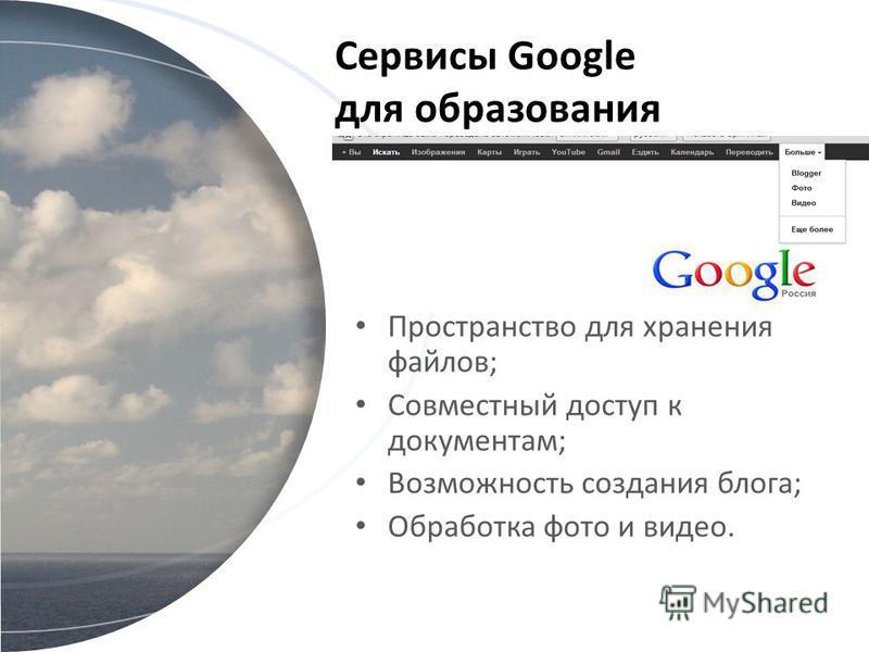 Сервисы Google для образования Пространство для хранения файлов; Совместный доступ к документам; Возможность создания блога; Обработка фото и видео.