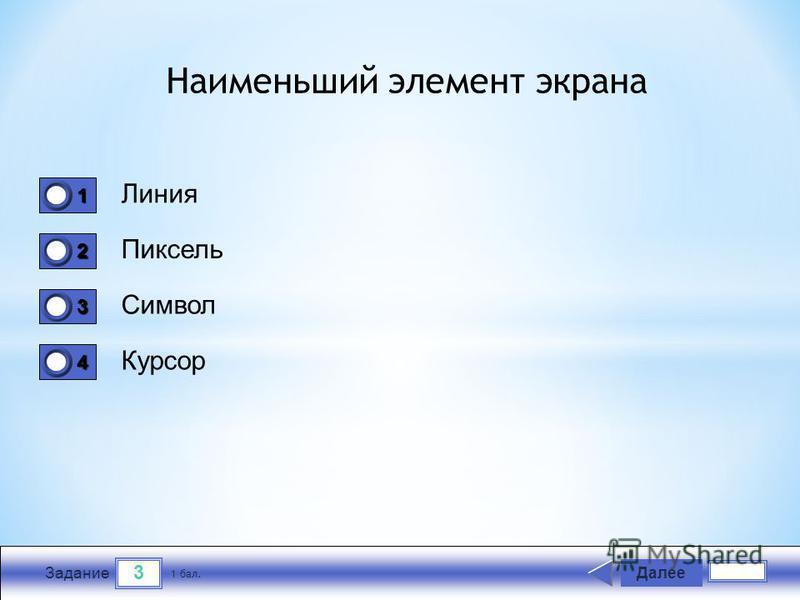 3 Задание Линия Пиксель Символ Курсор Далее 1 бал. 1111 0 2222 0 3333 0 4444 0 Наименьший элемент экрана