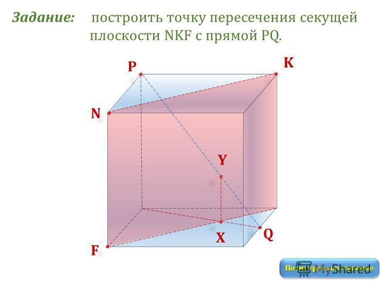 Задание: построить точку пересечения секущей плоскости NKF с прямой PQ. K N P Q F Посмотреть построение Х Y