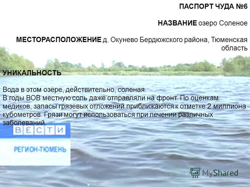 ПАСПОРТ ЧУДА 6 НАЗВАНИЕ озеро Соленое МЕСТОРАСПОЛОЖЕНИЕ д. Окунево Бердюжского района, Тюменская область УНИКАЛЬНОСТЬ Вода в этом озере, действительно, соленая. В годы ВОВ местную соль даже отправляли на фронт. По оценкам медиков, запасы грязевых отл