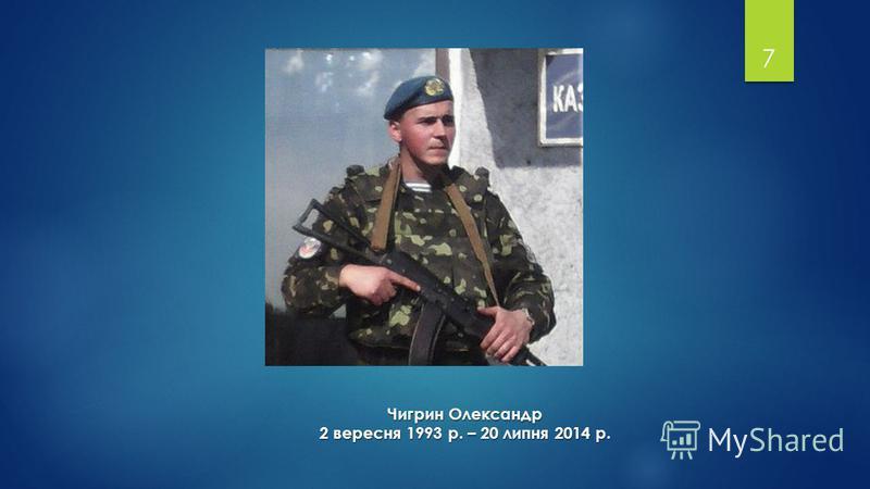 7 Чигрин Олександр 2 вересня 1993 р. – 20 липня 2014 р.