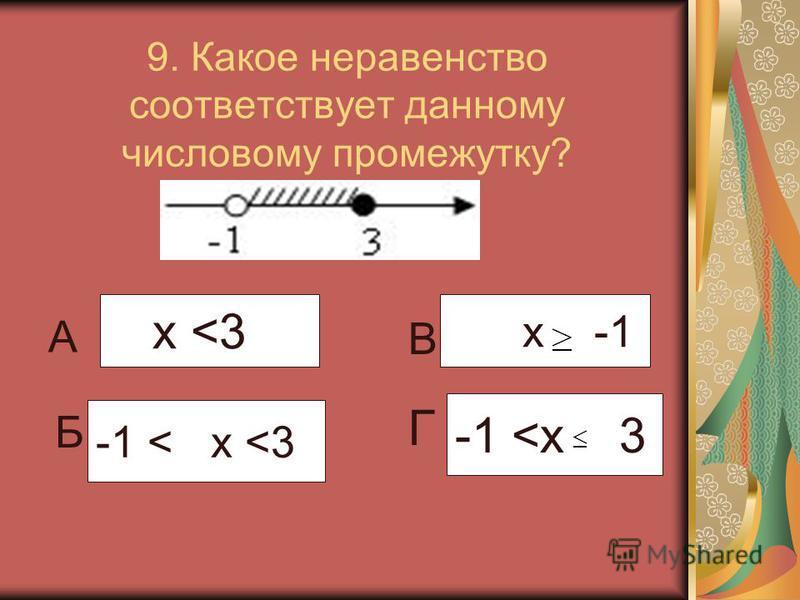 9. Какое неравенство соответствует данному числовому промежутку? -1 <х 3 -1 < х <3 х <3 х -1 А Б В Г