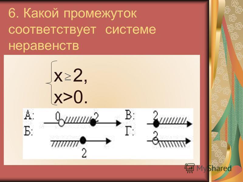6. Какой промежуток соответствует системе неравенств х 2, х>0.