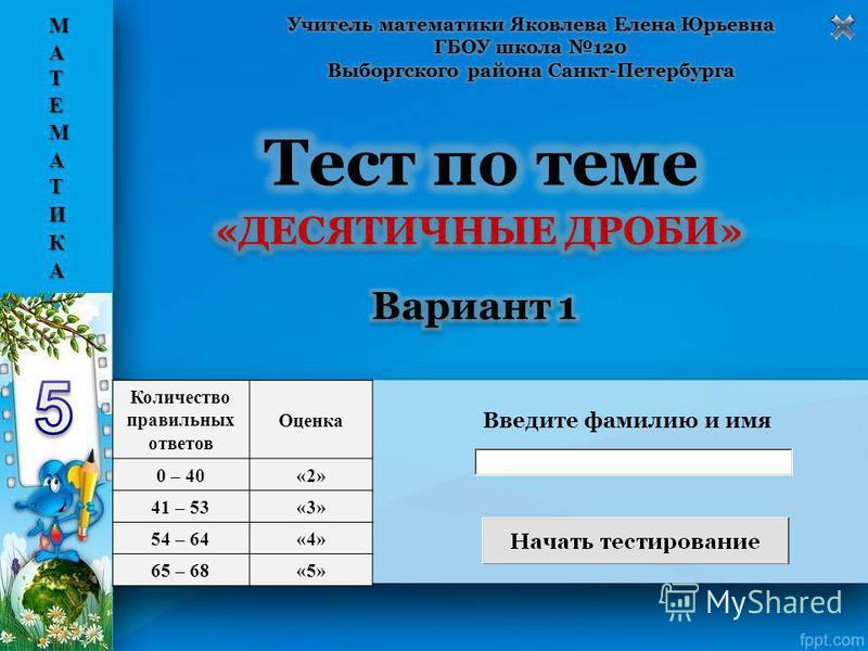 Введите фамилию и имя Количество правильных ответов Оценка 0 – 40«2» 41 – 53«3» 54 – 64«4» 65 – 68«5»