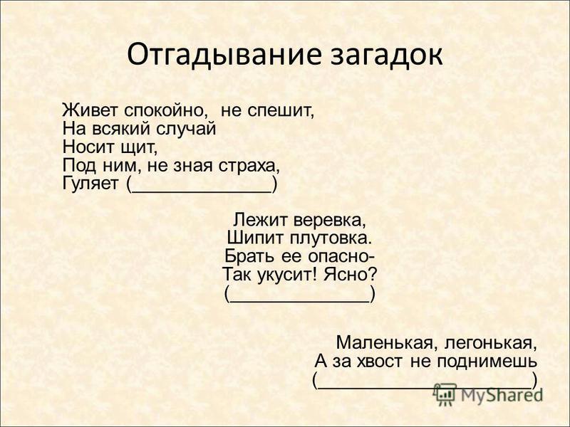 Отгадывание загадок Живет спокойно, не спешит, На всякий случай Носит щит, Под ним, не зная страха, Гуляет (_____________) Лежит веревка, Шипит плутовка. Брать ее опасно- Так укусит! Ясно? (_____________) Маленькая, легонькая, А за хвост не поднимешь