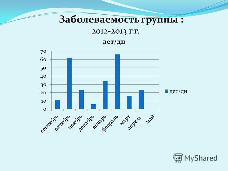 Заболеваемость группы : 2012-2013 г.г.