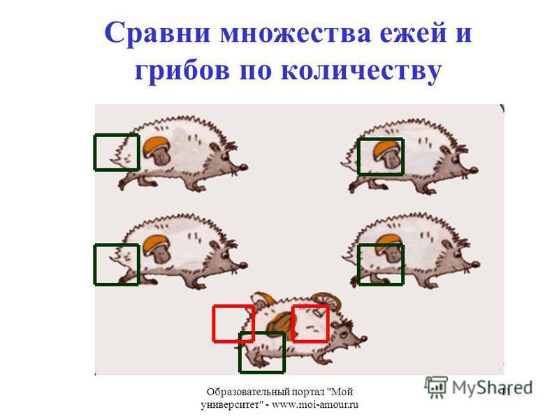 Образовательный портал Мой университет - www.moi-amour.ru 11 Сравни множества ежей и грибов по количеству