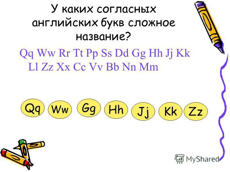 У каких согласных английских букв сложное название? Qq Ww Rr Tt Pp Ss Dd Gg Hh Jj Kk Ll Zz Xx Cc Vv Bb Nn Mm Qq Ww Gg Hh JjKkZz