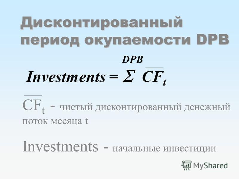 Дисконтированный период окупаемости DPB DPB Investments = CF t CF t - чистый дисконтированный денежный поток месяца t Investments - начальные инвестиции