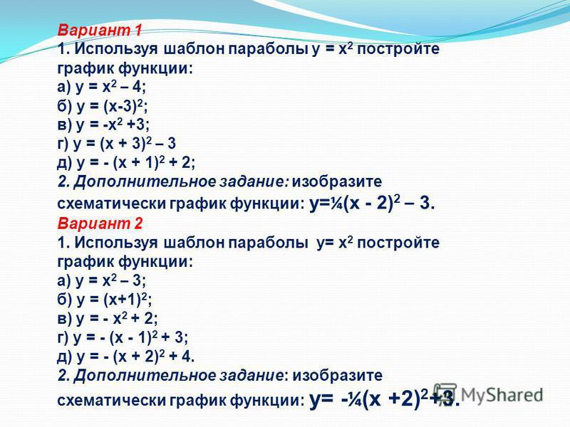 Вариант 1 1. Используя шаблон параболы y = x 2 постройте график функции: а) y = x 2 – 4; б) y = (x-3) 2 ; в) y = -x 2 +3; г) y = (x + 3) 2 – 3 д) y = - (x + 1) 2 + 2; 2. Дополнительное задание: изобразите схематически график функции: y= ¼ (x - 2) 2 –