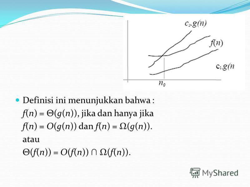 Definisi ini menunjukkan bahwa : f(n) = Θ(g(n)), jika dan hanya jika f(n) = O(g(n)) dan f(n) = (g(n)). atau Θ(f(n)) = O(f(n)) (f(n)).