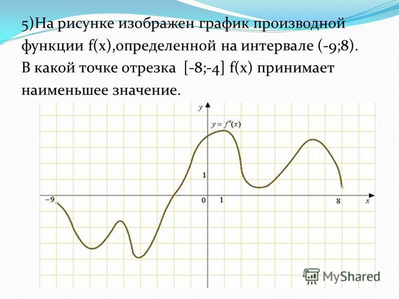 5)На рисунке изображен график производной функции f(x),определенной на интервале (-9;8). В какой точке отрезка [-8;-4] f(x) принимает наименьшее значение.