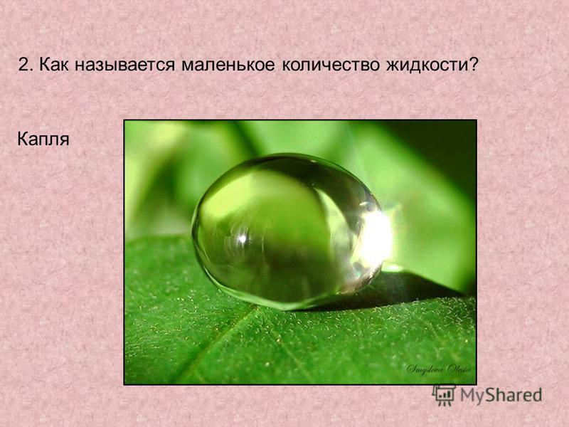 2. Как называется маленькое количество жидкости? Капля