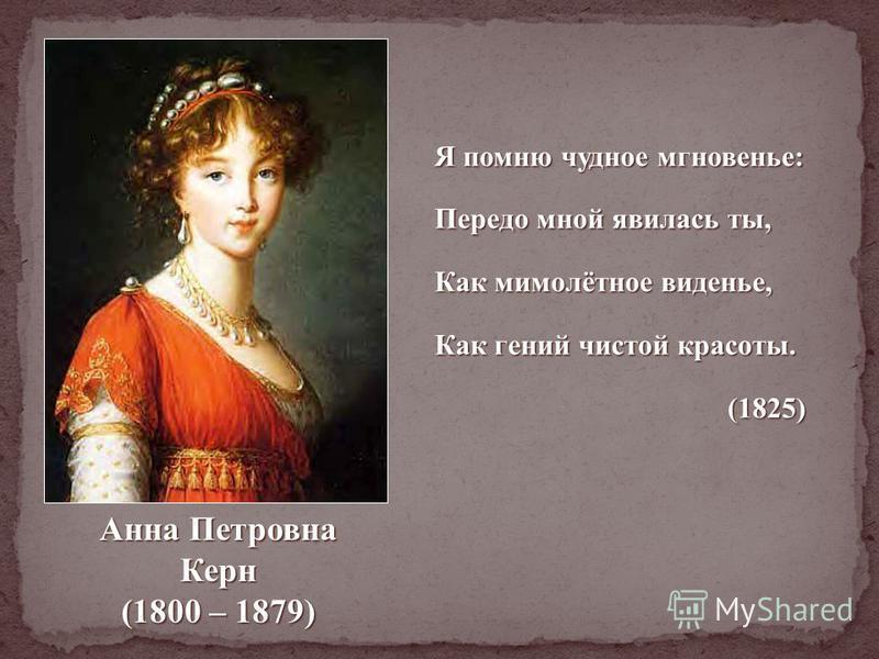 Анна Николаевна Вульф (1799 – 1857) Я был свидетелем златой твоей весны; златой твоей весны; Тогда напрасен ум, искусства не нужны, искусства не нужны, И самой красоте семнадцать лет замена. семнадцать лет замена. (1825) (1825)