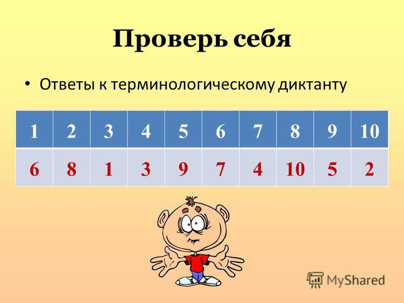 Проверь себя Ответы к терминологическому диктанту 12345678910 6813974 52