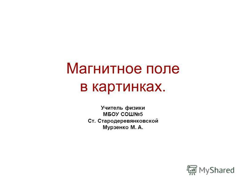 Магнитное поле в картинках. Учитель физики МБОУ СОШ5 Ст. Стародеревянковской Мурзенко М. А.