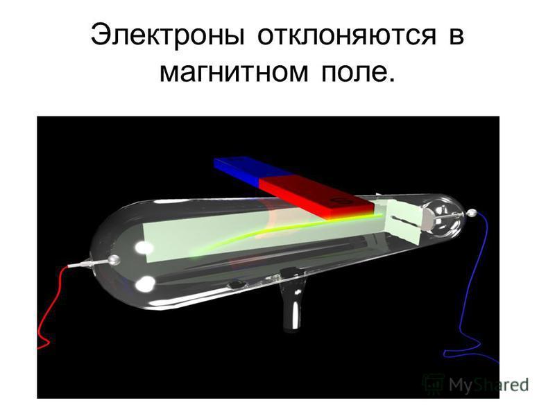Электроны отклоняются в магнитном поле.