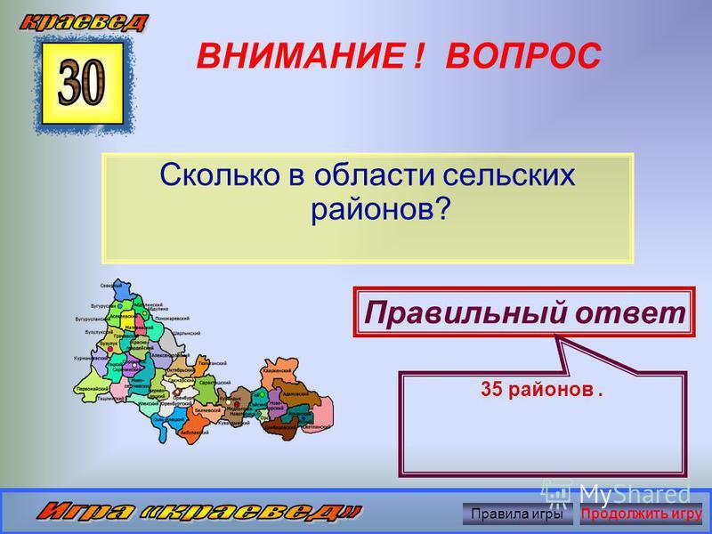 ВНИМАНИЕ ! ВОПРОС Какова площадь Оренбургской области? Правильный ответ 124 тыс. кв.км. Правила игры Продолжить игру