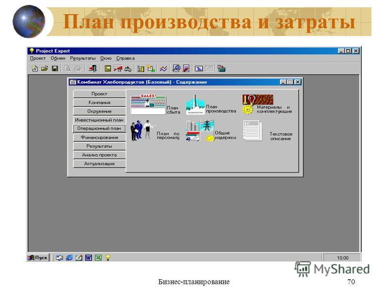 Бизнес-планирование 70 План производства и затраты