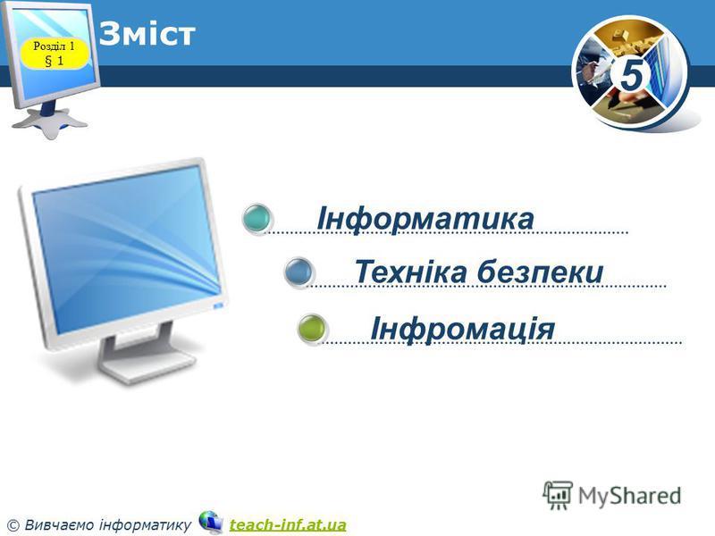 5 © Вивчаємо інформатику teach-inf.at.uateach-inf.at.ua Інформатика Техніка безпеки Інфромація Розділ 1 § 1 Зміст