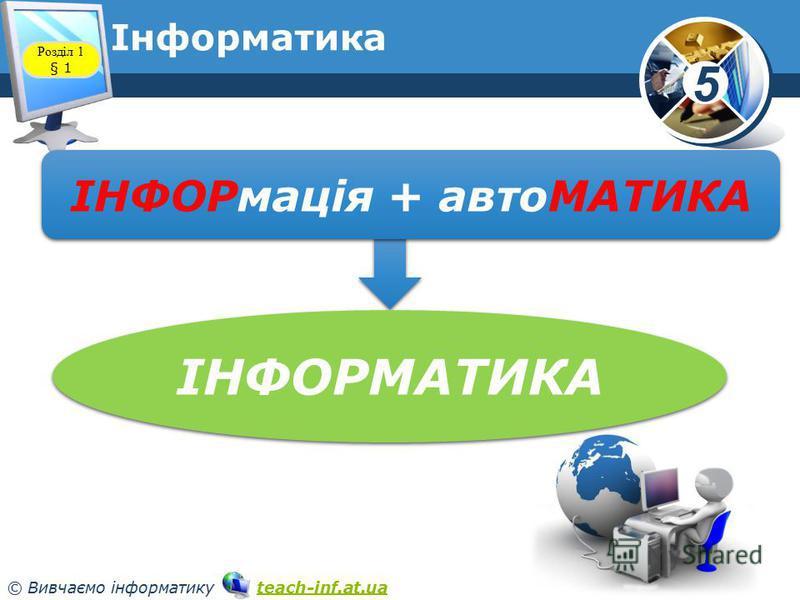 5 © Вивчаємо інформатику teach-inf.at.uateach-inf.at.ua Розділ 1 § 1 ІНФОРмація + автоМАТИКА ІНФОРМАТИКА Інформатика