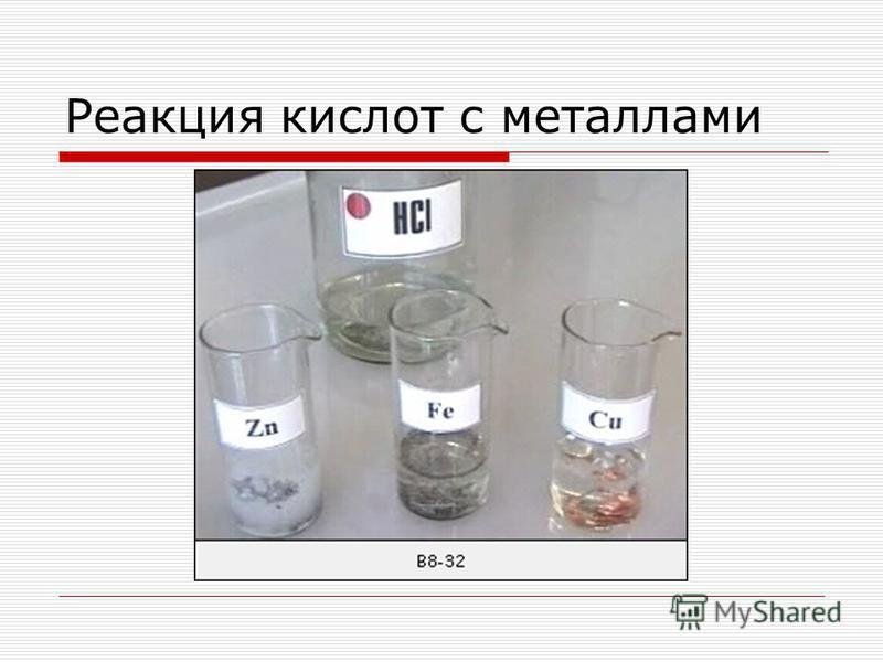 Реакция кислот с металлами