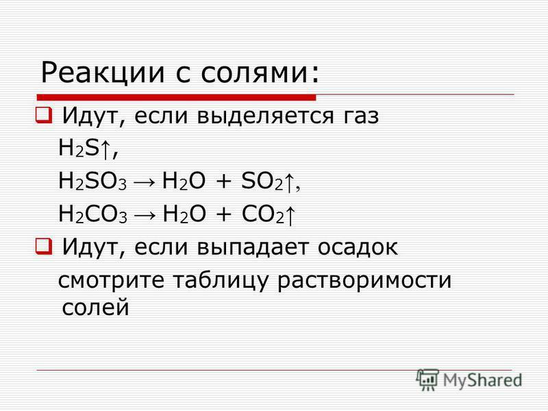 Реакции с солями: Идут, если выделяется газ H 2 S, H 2 SO 3 H 2 O + SO 2, H 2 CO 3 H 2 O + CO 2 Идут, если выпадает осадок смотрите таблицу растворимости солей